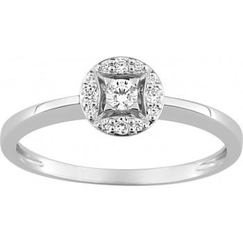 Bague de fiançailles SUMMUM or blanc 750 /°° diamants 0,14 carat