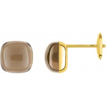 Boucles d'oreilles CRILLON or jaune 750 /°° quartz fumés 6.10 carats