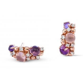 Boucles d'oreilles  TUTTI FRUTTI  or rose 750/°°  pierres semi-précieuses diamants 0.28 carat