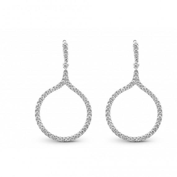 Boucles d'oreilles EOLIE  pendants  or blanc 750/°° diamants 0.575 carat