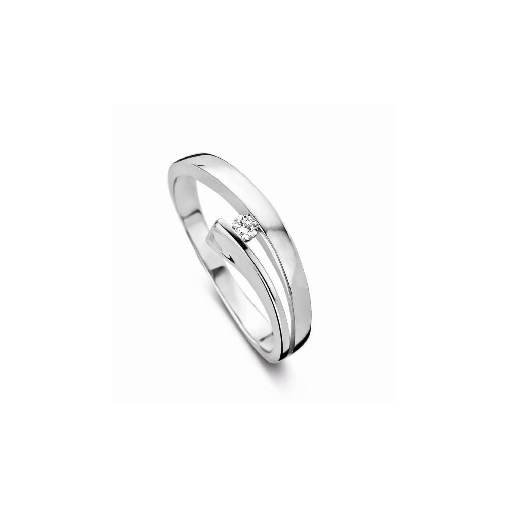 Bague de fiançailles ANYSE  or blanc 750 /°° diamant 0.05 carat