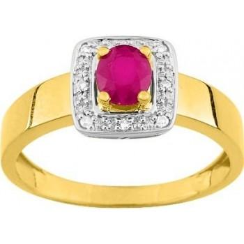 Bague ALLUREE or jaune 750 /°° diamants rubis 0,47 carat