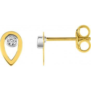 Boucles d'oreilles SHIRA OR JAUNE 750 /°° diamanrs 0,01 carat