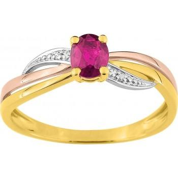 Bague PINPANTE 3 ors 750 /°° diamants rubis 0.44 carat