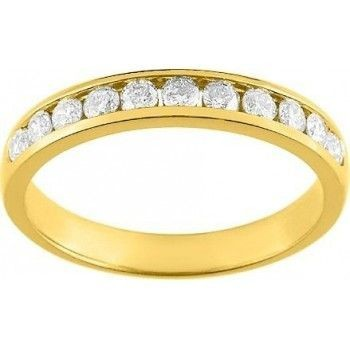 Demi-alliance RAIL or jaune 750 /°° diamants 0,70 carat