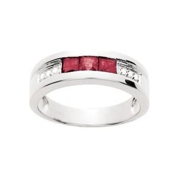 Bague CHAMBORD or blanc 750 /°° diamants rubis