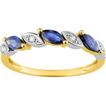 Bague ROSEAU or jaune 750 /°° diamants saphirs bleus