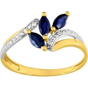 Bague ALIZEE or jaune 750 /°° diamants saphirs bleus