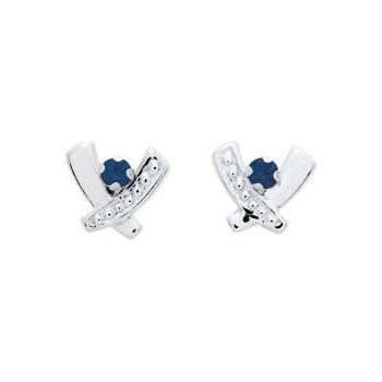 Boucles d'oreilles SOURIRE or blanc 750 /°° saphirs bleus