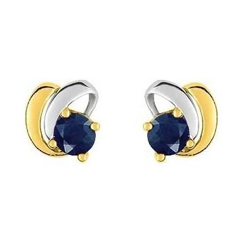 Boucles d'oreiles RIOLO or jaune or blanc 750 /°° saphirs bleus 0.32 carat
