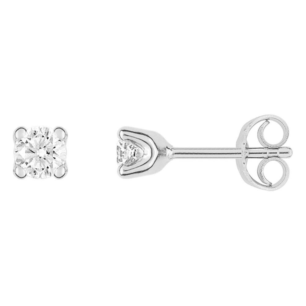Boucles d'oreilles ARCADE or blanc 750 /°° diamants 0,25 carat