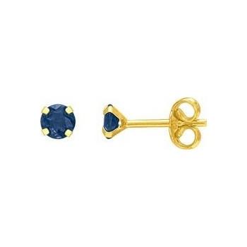 Boucles d'oreilles NARVA or jaune 750 /°° saphirs bleus diamètre 4 mm