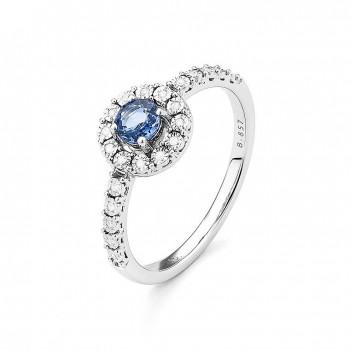 Bague PALOLA or blanc 750/°° diamants saphir bleu  0.34 carat