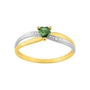 Bague GLAMOUR or jaune  750 /°° diamants émeraude
