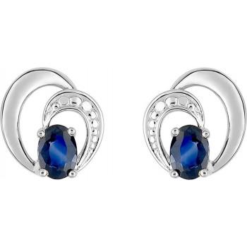 Boucles d'oreilles PALMI or blanc 750 /°° saphirs bleus