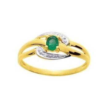 Bague SILVA or jaune 750 /°° diamants émeraude 0.16 carat