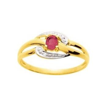Bague SILVA or jaune 750 /°°  diamants rubis 0.21 carat