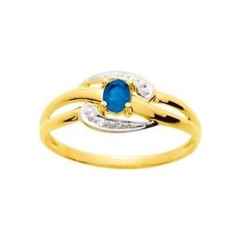 Bague CELINE or jaune 750 /°° diamants saphir bleu