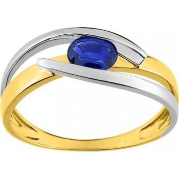 Bague MYSTERIEUSE or jaune 750 /°° saphir bleu 0.47 carat