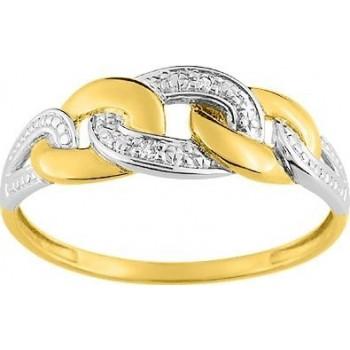 Bague PYREOS or jaune 750 /°° diamants 0,01 carat
