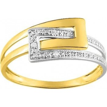 Bague BOUCLE or jaune 750 /°°  diamants 0,01 carat