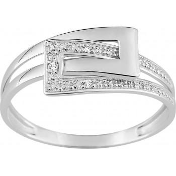 Bague BOUCLE or blanc 750 /°° diamants 0,01 carat