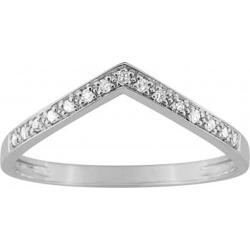 Bague ZINA or blanc 750 /°° diamants 0,06 carat