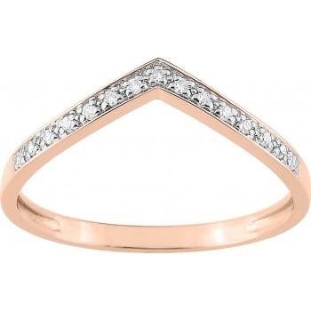 Bague ZINA or rose 750 /°° diamants 0,06 carat
