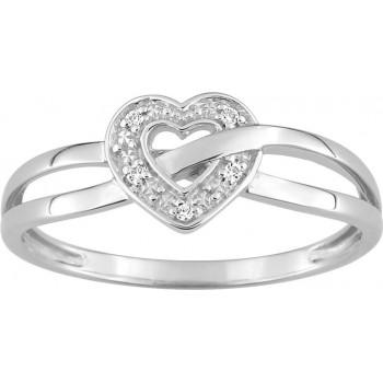 Bague BEAUREVOIR or blanc 750 /°° diamants 0,02 carat