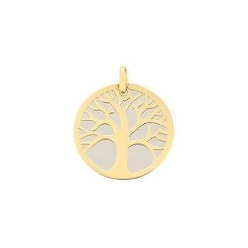 Médaille Arbre de Vie acier et or jaune 750 /°° diamètre 16 mm