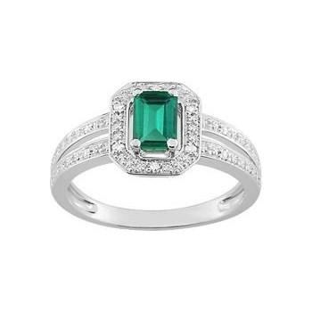 Bague LILY  or blanc 750 /°° diamants émeraude 0.63 carat