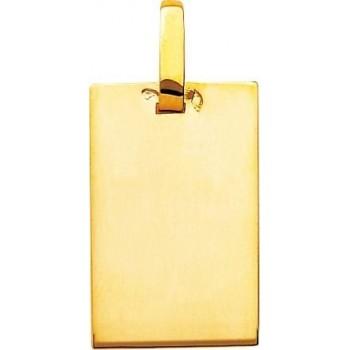 Pendentif PERA plaque or jaune 750 /°° dimensions 25 mm x 16 mm