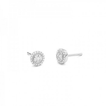 Boucles d'oreilles ROSACE or blanc 750 /°° diamants 0.15 carat