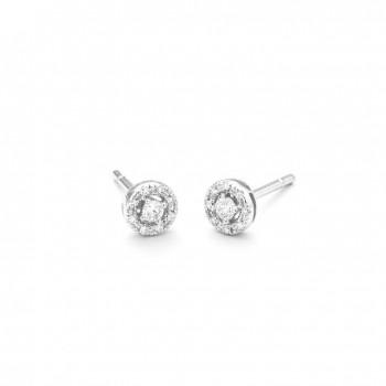 Boucles d'oreilles ROSACE or blanc 750 /°° diamants 0.16 carat