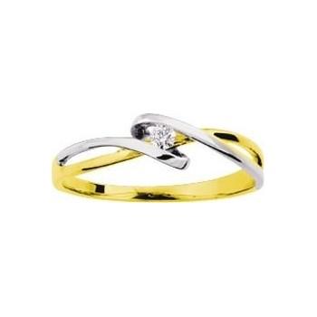 Bague  ENLACEE or jaune 750 /°° or blanc diamants 0.04 carat