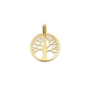 Médaille Arbre de Vie or jaune 750 /°° diamètre 17 mm