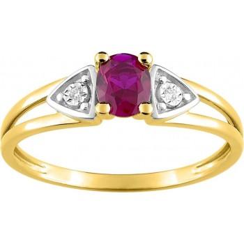 Bague CLASSICA or jaune 750 /°° rubis diamants