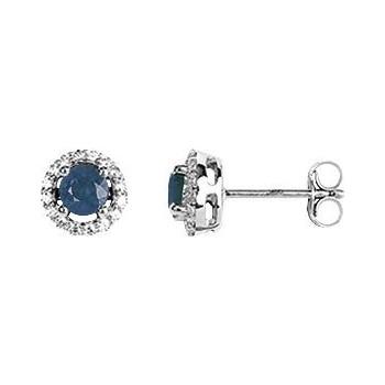 Boucles d'oreilles BAHIA or blanc 750 /°° saphirs bleus oxydes de zirconium