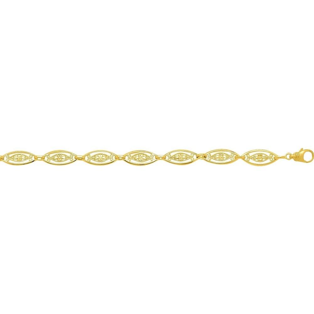Bracelet CELINE or jaune 750 /°° mailles filigrane