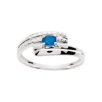 Bague ALYA or blanc 750 /°° diamants saphir bleu 0.21 carat