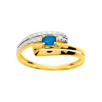 Bague ALYA or jaune 750 /°° diamants saphir bleu 0.21 carat