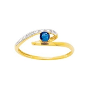 Bague PHOEBEE or jaune 750 /°° diamants saphir bleu