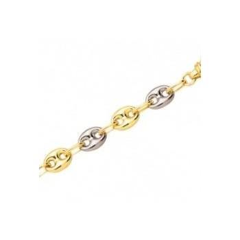 Bracelet or jaune or blanc 750 /°° mailles grains de café creuses  largeur 6 mm