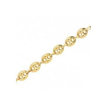 Bracelet or jaune 750 /°° mailles grains de café creuses  largeur 7 mm