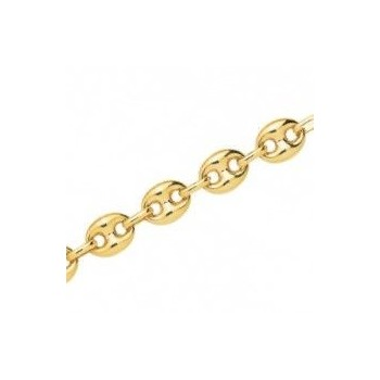 Bracelet ENVOL or jaune 750 /°° mailles grains de café creuses largeur 10 mm