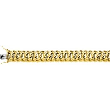Bracelet AMERICA or jaune 750 /°° mailles américaines largeur 16 mm