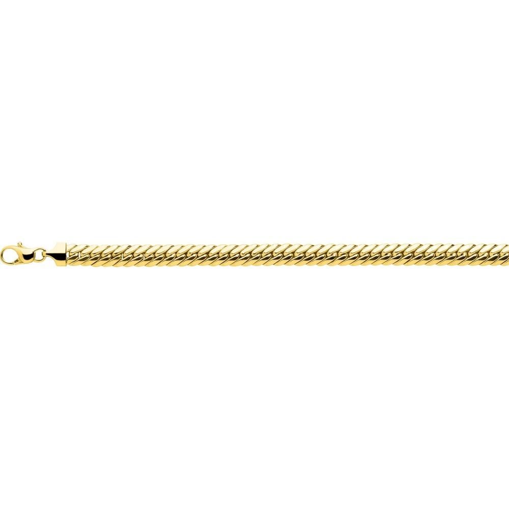 Bracelet FLORA or jaune 750 /°° mailles anglaises largeur 6.5 mm