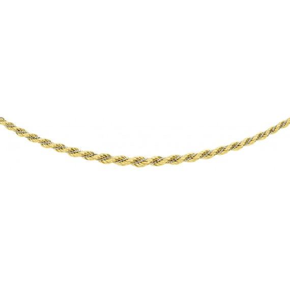 Collier NEVE or jaune or blanc 750 /°° mailles corde et vénitienne centre 7 mm