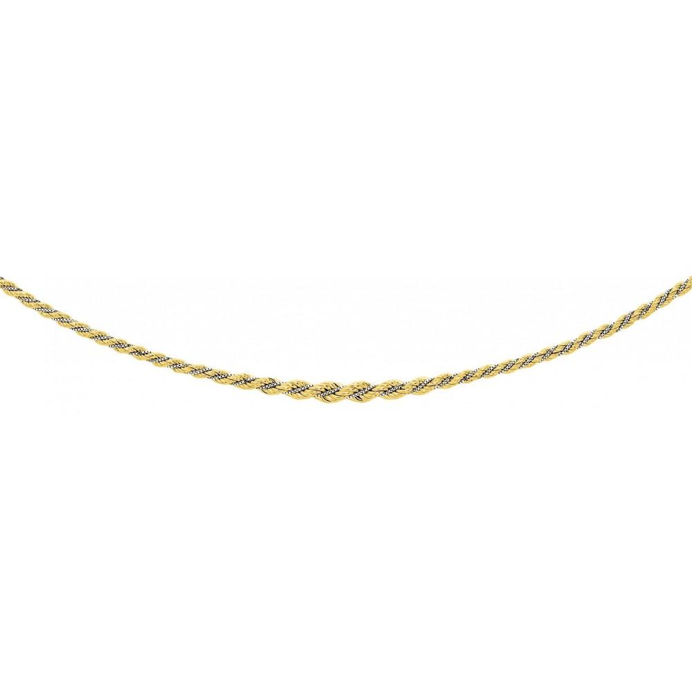 Collier NEVE or jaune or blanc 750 /°° mailles corde et vénitienne centre 5 mm