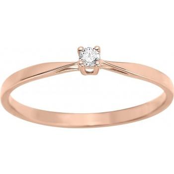 Bague de fiançailles CRIOS or rose 750 /°° diamant 0,04 carat